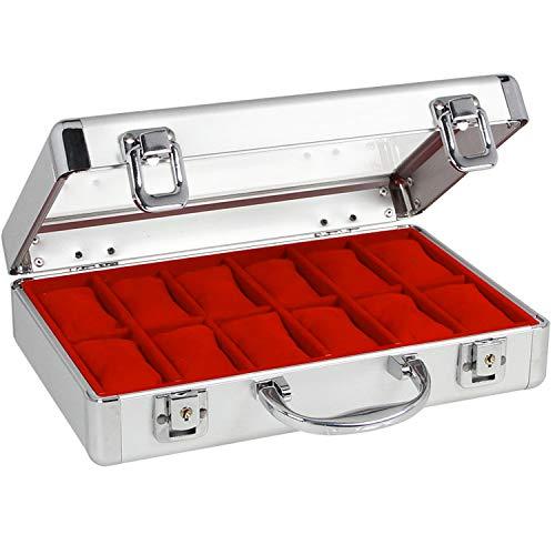 SAFE 265-1 ALU Uhrenaufbewahrungsbox Herren für 12 Uhren-Schmuckhalter in rotem Samt - abschließbare Uhren Box mit Glasdeckel und abnehmbaren Uhrenkissen