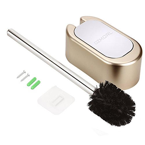 DZMORL NiceMax Toilet Brush Holder, Home Wall-Mounted Bathroom Brush with Plating and Toilet Brush with Stainless Steel Handle for Bathroom Storage (Gold)