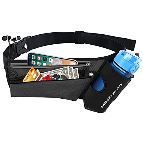Waist Pack Sports Running Belt Pouch Bag with Water Bottle Holder and 2 Zipped Pockets for iPhone, Samsung or Smartphones hydration packs for Man Women Workout Outdoors Climbing Cycling