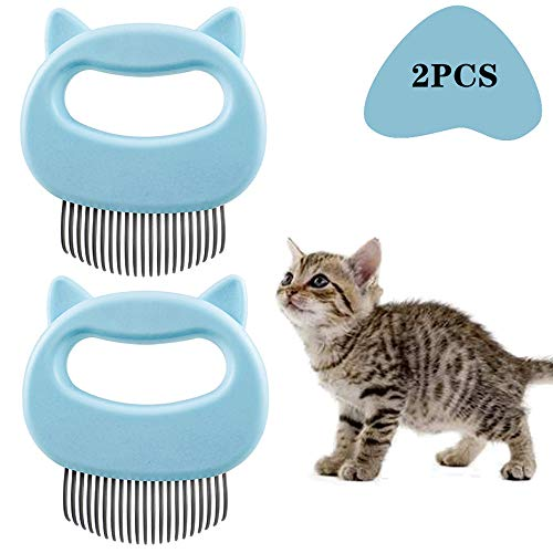 Pet Grooming Shedding Brush for Dog Cat Hair, Deshedding Massage Comb, Dog Brush End Shedding 2 Pcs(Blue)