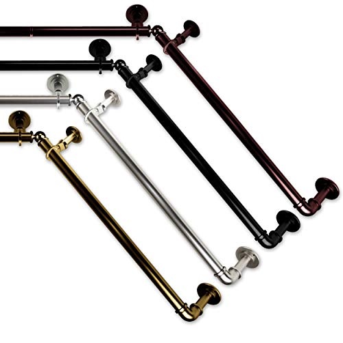 "A&F Rod Decor 1 inch Pipe Bay Window Curtain Rod 23""-41"", 41""-78""- Black"