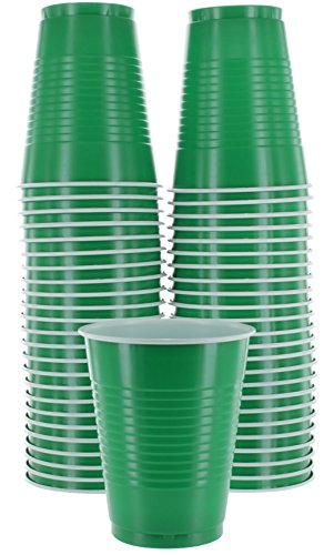 Amcrate Green Colored 18-Ounce Disposable Plastic Party Cups - Ideal for Weddings, Party's, Birthdays, Dinners, Lunch's. (Pack of 50)