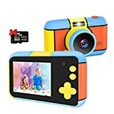JIDSFIE 24MP Kid Digital Camera Gifts for Age 3 4 5 6 7 8 9 10 Years Old Boys Girls, 1080P 2.4'' Large LCD Blue Screen Video Camcorder, USB Rechargeable Selfie Camera with 16GB SD Card