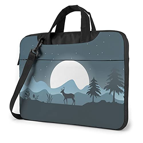Laptop Sleeve Bag Deer Forest Outdoor Art Tablet Briefcase Ultraportable Protective Canvas for 14 inch MacBook Pro/MacBook Air/Notebook Computer