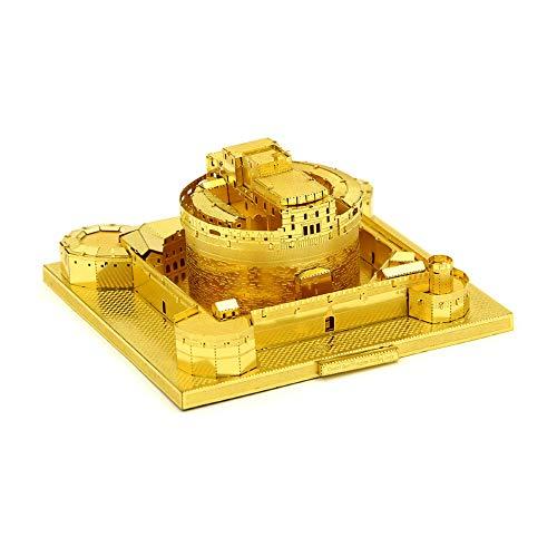 PY- FLRINGPIN Microworld 3D Metall Puzzles, 3D Puzzles Castel Sant'Angelo, 3D Bauwerke Puzzles Geschenk für Erwachsene und Kinder, DIY Architekturmodellbausätze Metallbausatz ohne Kleber J007 (Gold)