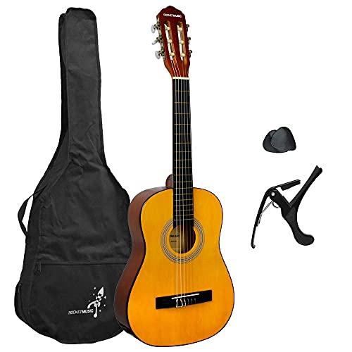 Rocket XF201EN XF Serie - Guitarra española clásica, adecuada para niños de 5 - 7 años, Color natural, tamaño 1/2