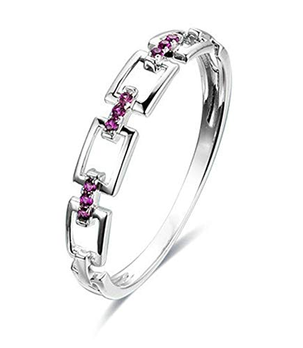 Rubyia Womens Engagement Rings White Gold 18 carat 0.06ct Fuchsia Ruby Round with Square Splice Size M½