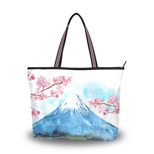 NaiiaN para mujeres, niñas, señoras, monedero para estudiantes, bolsos de compras, bolso de mano con correa ligera, bolsos de hombro con flores de cerezo del monte Fuji