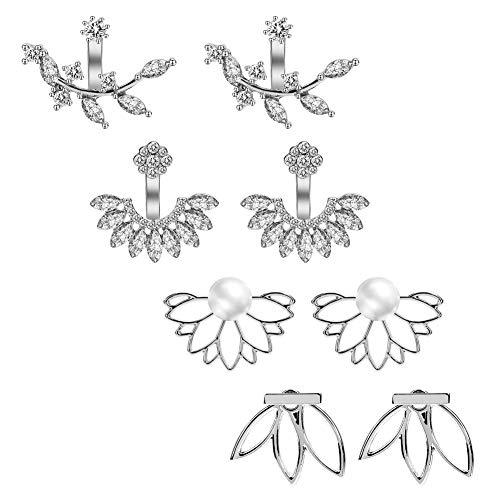 AIM Cloudbed - Set di 4 paia di orecchini a perno a forma di fiore di loto, semplici e chic, per donne e ragazze
