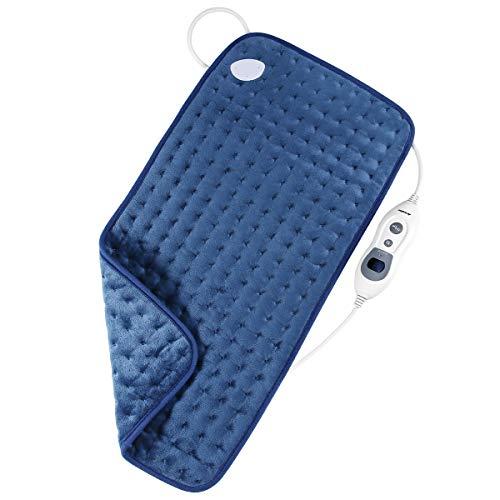 Heizkissen Elektrisch Arealer, für Rücken Nacken Schulter Füße, Waschbar Wärmekissen (12x24in), Abschaltautomatik, Temperatureinstellung mit 3 Stufen, Weiche Oberfläche, Flanell, Blau