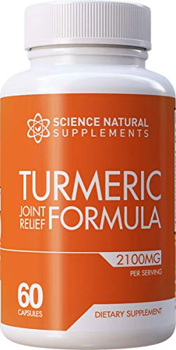 Science Natural Supplements: Turmeric Joint Relief Supplement with Glucosamine Chondroitin - 60 Caps - with Curcuminoids and BioPerine for Faster Absorption - Anti Inflammatory Joint Support
