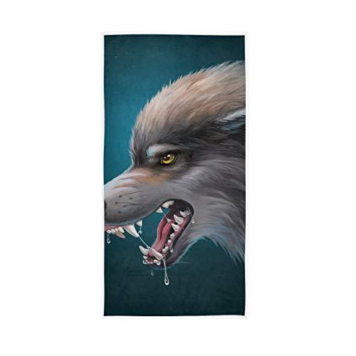 XiangHeFu sterk absorberende multifunctionele badkamer, handdoekendouche, ultrazachte sjaal, luxe karikatuur, hongerige wolf
