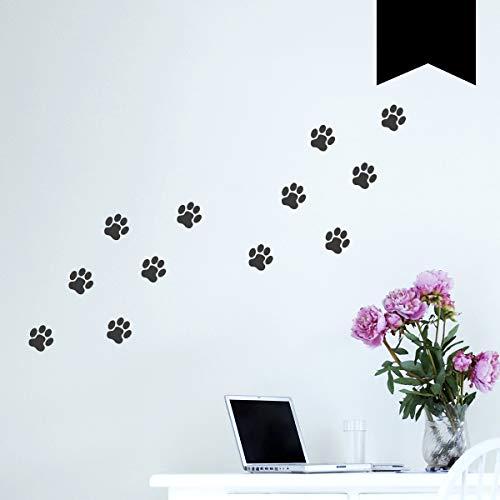 WANDKINGS Wandtattoo Hundepfoten - A4 Set 21 x 30 cm - Schwarz - 35 Farben zur Wahl