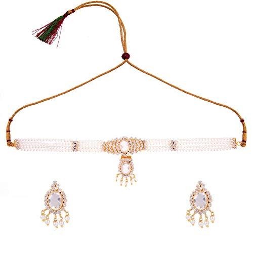 Efulgenz Joyería de moda chapada en oro con circonita cúbica sintética para novia, collar y pendientes
