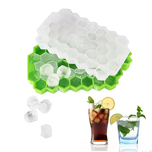 Orycool 2 Stück Eiswürfelform, Silikon Eiswürfelformen 74-Fach mit Deckel für Gefrorenes Bier/Whisky Party und Familie