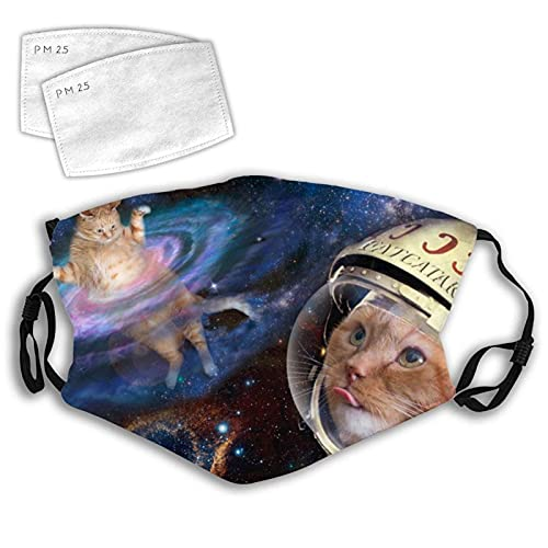 wltbvet Space Cat Face M-as-k Reusable Face M-Ask-s Anti-Dust Cover with Elastic Ear Loop Women Men 2 PCS Filter
