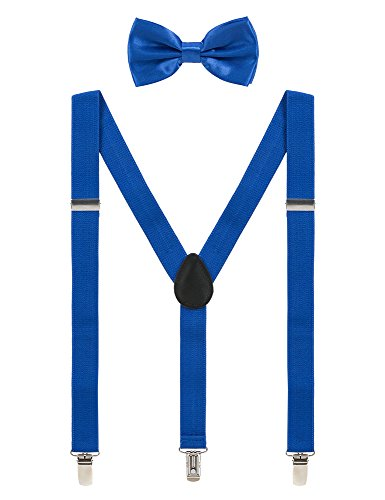 Mens Suspenders and Bow Tie Set Adjustable Elastic Clip On Suspenders for Wedding by Grade Code (Royal Blue)