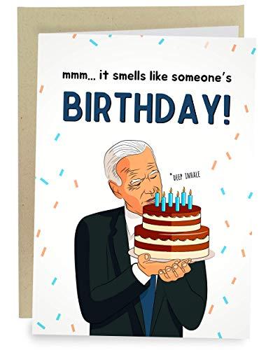 Sleazy Greetings Funny Joe Biden Sniffing Smelling Happy Birthday Greeting Card | Political Bday Congratulations Joe Biden Card (Sniffing Cake)