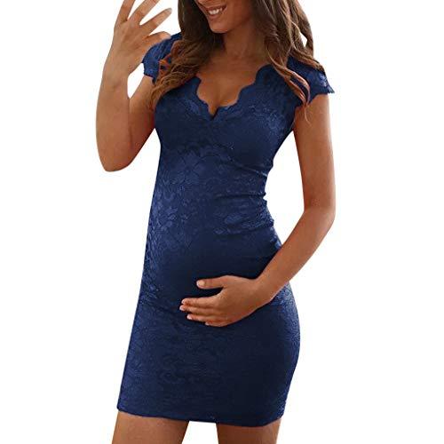PAOLIAN Vestidos de Maternidad Tirantes Corto Verano Sexy Casual Vestidos de Mujer Embarazadas Fiesta Talla Grande Sin Mangas Ropa Premamá Fotografía Cuello V Elegantes con Encaje