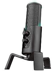Trust GXT 258 Fyru Micrófono USB con 4 Patrones de Grabación: Cardioide, Bidireccional, Estéreo y Omnidireccional, Latencia Cero, LED 5 Colores