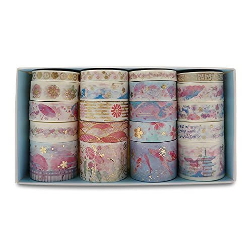 20 Rolls Flower Colorful Pattern Washi Tape with Box, Gold Foil Masking Tape, Ancient Brocade and Embroidery Style Hot Stamping Tapes for DIY Craft, Scrapbook,Gift Wrapping (Flower Club)