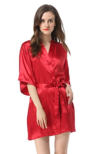 Women's Satin Plain Short Kimono Robe Bathrobe, Medium, Wine Red