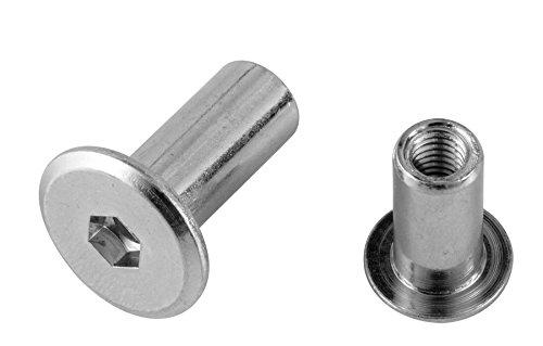 Pollmann Baubeschläge 2260800 Hülsenmutter M 6 x 18 mm verzinkt, 20 Stück