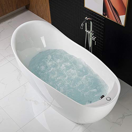 "Woodbridge BTS1610/B0033 67"" Air Bubble Freestanding Bathtub with Chrome Overflow and Drain, BTS1610, B-0033 white"