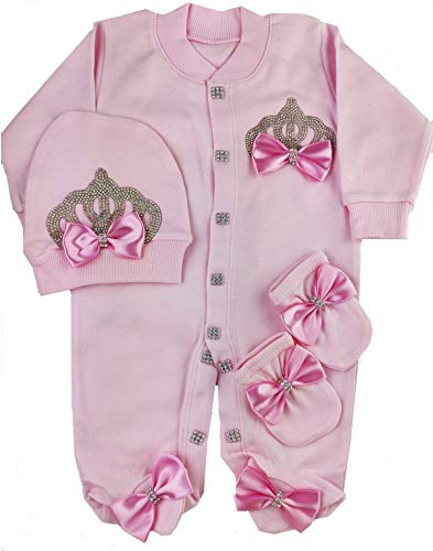 Ropa de bebé niña Mameluco Mitones Gorro Traje 0-3 Meses 3-6 Meses Juego de Regalo de 3 Piezas