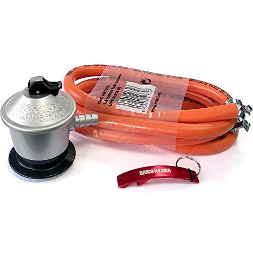 Kit Homologado de Manguera Butano y Regulador de Gas butano (CE Regulador con Certificación Europea) + 2 Abrazaderas + Llavero Regalo (Manguera 1.5mts - Regulador Butano 30 mBar)