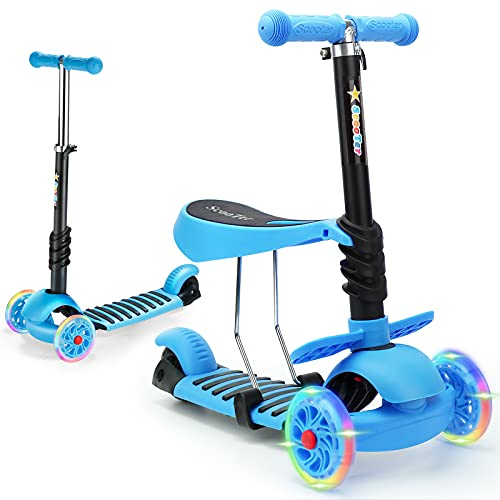 WPHUAW 3 Wheel Toddler Scooter for Kids 2-8 Years Old with LED Flash Wheels, Height Adjustable Lean to Steer Handlebar, Removable Seat,Back Wheel Brake, 160 Lbs Capacity, Toddler -Blue