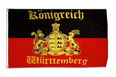 Fahne / Flagge Deutschland Württemberg mit Schrift + gratis Sticker, Flaggenfritze®