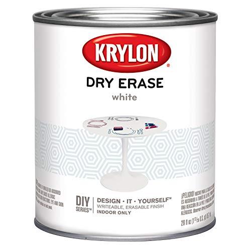 Krylon K03943000 Dry Erase Brush Quart Paint, White, 6 1
