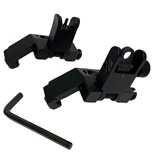 Flip-up Front & Rear Combo Iron Sights 45 Degree Back up Sight Set Compatible with 20mm Picatinny & Weaver Rail, Low Profile, Rapid Transition