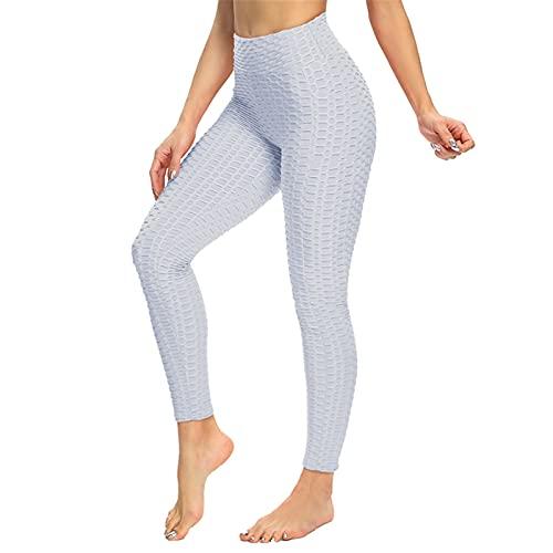 SotRong Damen Hohe Taille Yoga Hosen Lange Slim Fit Leggings mit Bauchkontrolle Mädchen Laufhose Weiß M