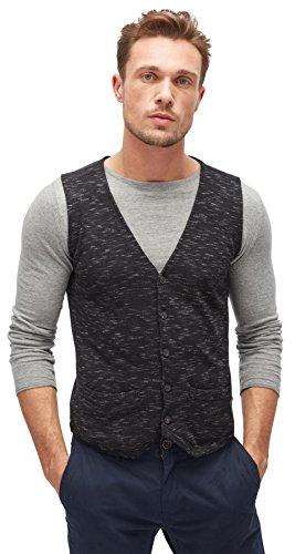 TOM TAILOR Herren Knitted Waistcoat Pullover, Schwarz (Black 2999), Large