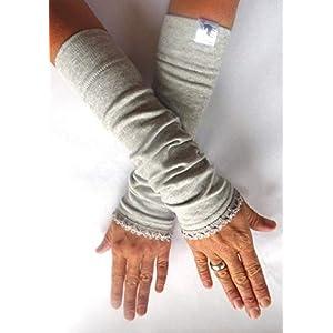 Armstulpen, lang – hellgrau mit elastischer Borte