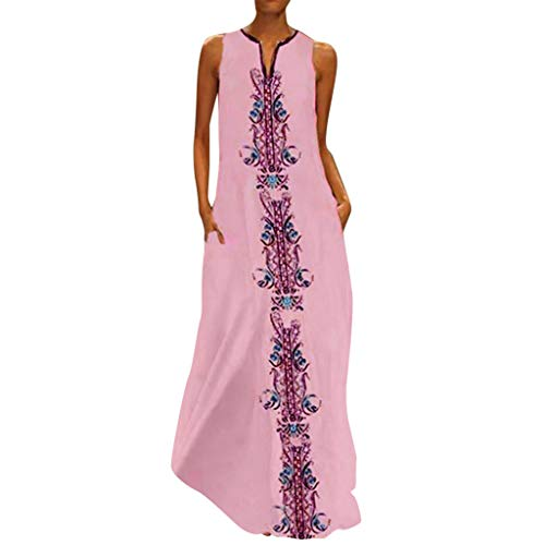 Xinantime Womens Vintage Long Dresses Daily Casual Sleeveless Striped Printed V-Neck Summer Maxi Dress (Pink,XXXL)