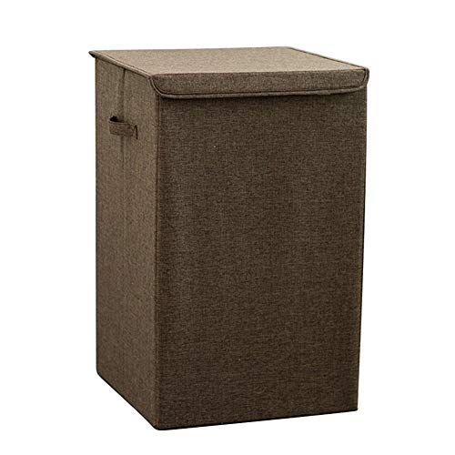Laundry Baskets Fashion Waterproof Laundry Bucket Foldable Dirty Clothes Storage Wash Bin Home Use Collapsible Corner Laundry Basket With Lid (Color : Coffee, Size : 56x34x34cm)