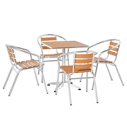 Outsunny Set Tavolo e 4 Sedie da Giardino e Terrazza, Arredamento da Esterno in Alluminio e Plastica, Colore Legno