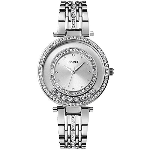 RORIOS Moda Mujer Relojes Impermeable Cuarzo Reloj de Pulsera con Correa en Acero Inoxidable Casual Diamante Reloj para Mujeres