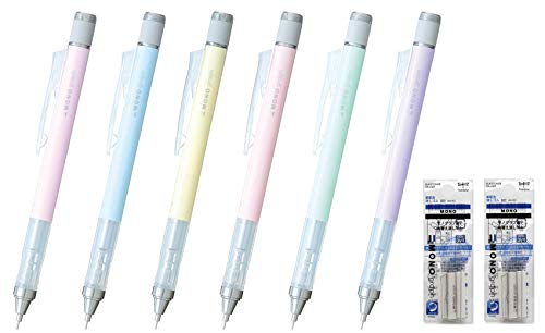 Tombow MONO Graph Pastel 0,5mm Portaminas (6pcs)+Borrador Rellenar (2 Packs) - surtido