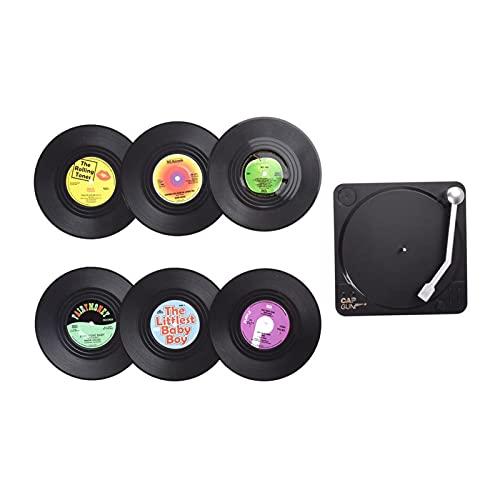 Vinyl onderzetters voor geluidsplaten, drink de onderzetter met record-spelerhouder, M1-patroon, voor kopjes, tafel, bar…