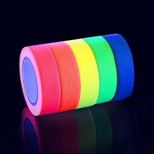 Neon Tape Klebeband, Mini Klein, UV Schwarzlicht reaktive Klebeband, 5 Farben, (B 15MM x L 5M) Pro Farbe, super Partydeko, Weihnachtsdeko, Weihnachtsgeschenke.