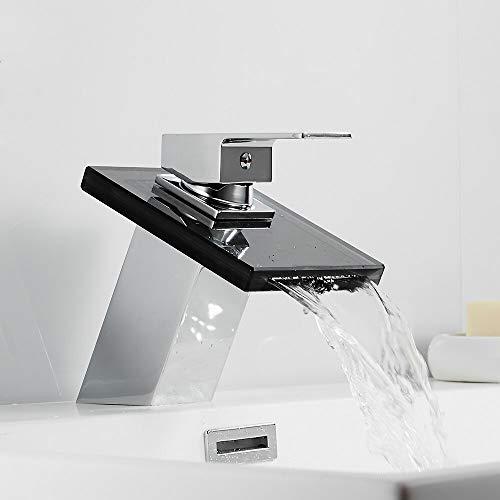 Grifo de cascada de baño Grifo de lavabo de latón de vidrio Grifo mezclador montado en la cubierta Grifo monomando para lavabo No LED No sensible a la temperatura