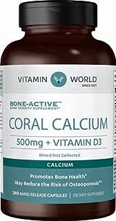 Vitamin World Coral Calcium 500mg + D3 & Magnesium, 240 Capsules