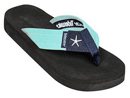 Tidewater Women's Flip Flop Sandals, Mint / Navy, 8