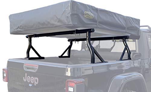 TMS 800 LB Low Profile Extendable Non-Drilling Steel Pickup Truck Bed Rack Sport Bar Rooftop Tent 2 Bar Set (21'')