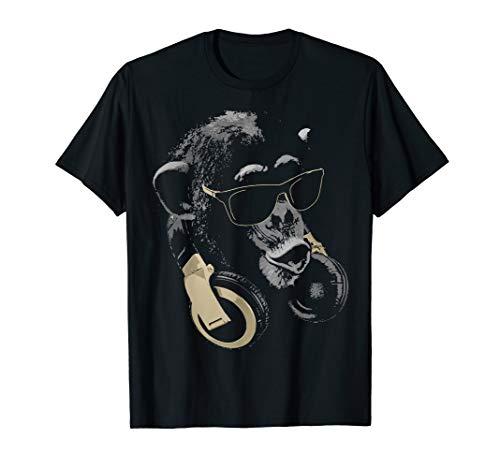 Affe Schimpanse mit Sonnenbrille und Kopfhörer T-Shirt