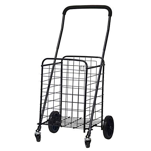 BLISSUN Utility Shopping Cart with Rolling Swivel Wheels (Black)